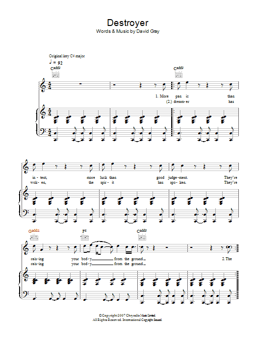 David Gray Destroyer sheet music preview music notes and score for Piano, Vocal & Guitar including 4 page(s)