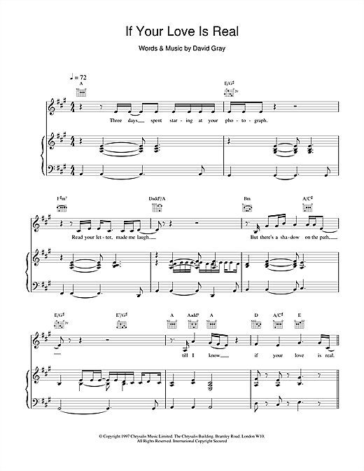 David Gray If Your Love Is Real sheet music notes and chords