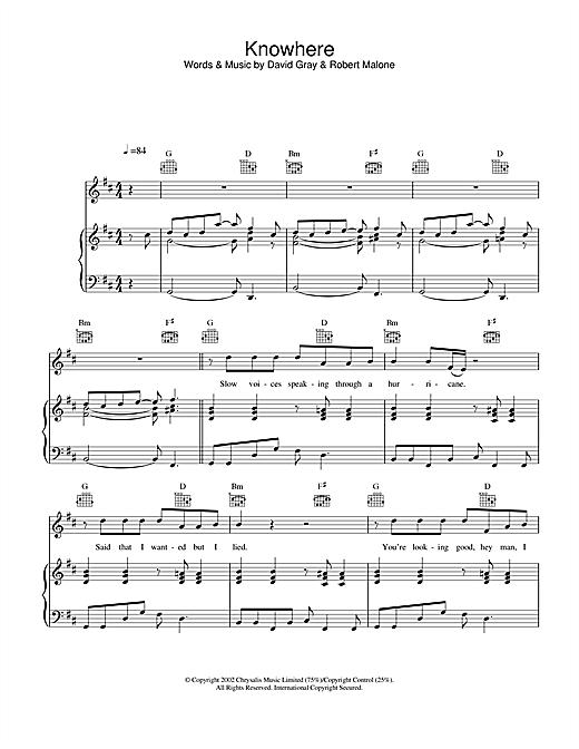 David Gray Knowhere sheet music notes and chords