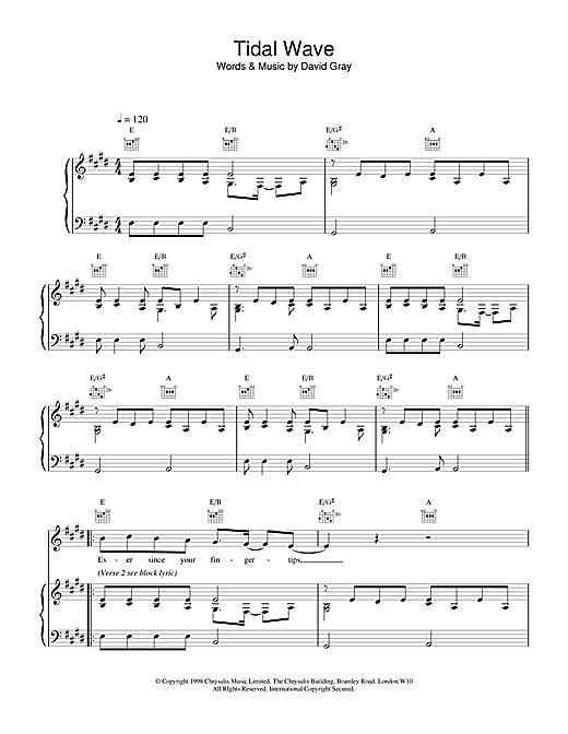 David Gray Tidal Wave sheet music notes and chords