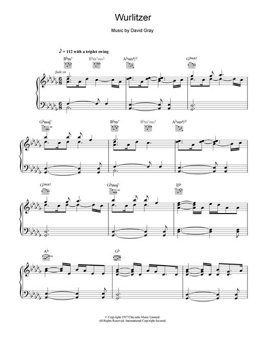 David Gray Wurlizer sheet music notes and chords