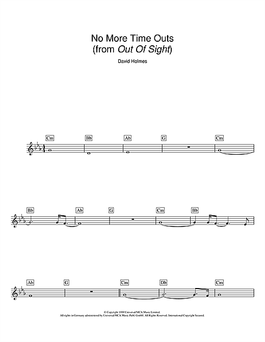 Download David Holmes 'No More Time Outs (from Out Of Sight)' Digital Sheet Music Notes & Chords and start playing in minutes