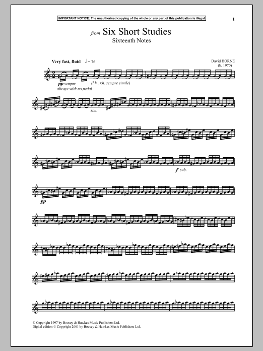 Download David Horne 'Six Short Studies, Sixteenth Notes' Digital Sheet Music Notes & Chords and start playing in minutes