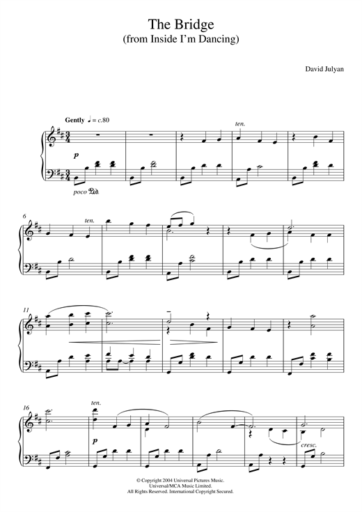 Download David Julyan 'The Bridge (from 'Inside I'm Dancing')' Digital Sheet Music Notes & Chords and start playing in minutes