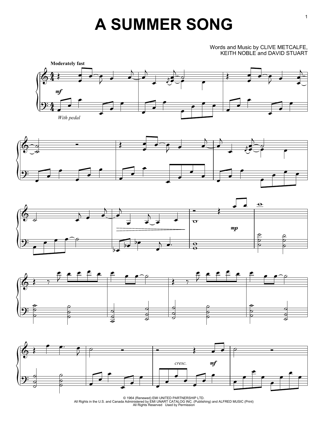Download David Lanz 'A Summer Song' Digital Sheet Music Notes & Chords and start playing in minutes