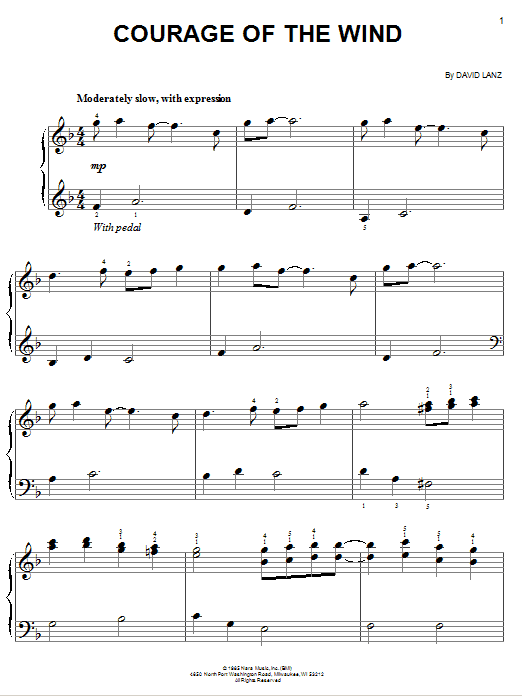 Download David Lanz 'Courage Of The Wind' Digital Sheet Music Notes & Chords and start playing in minutes