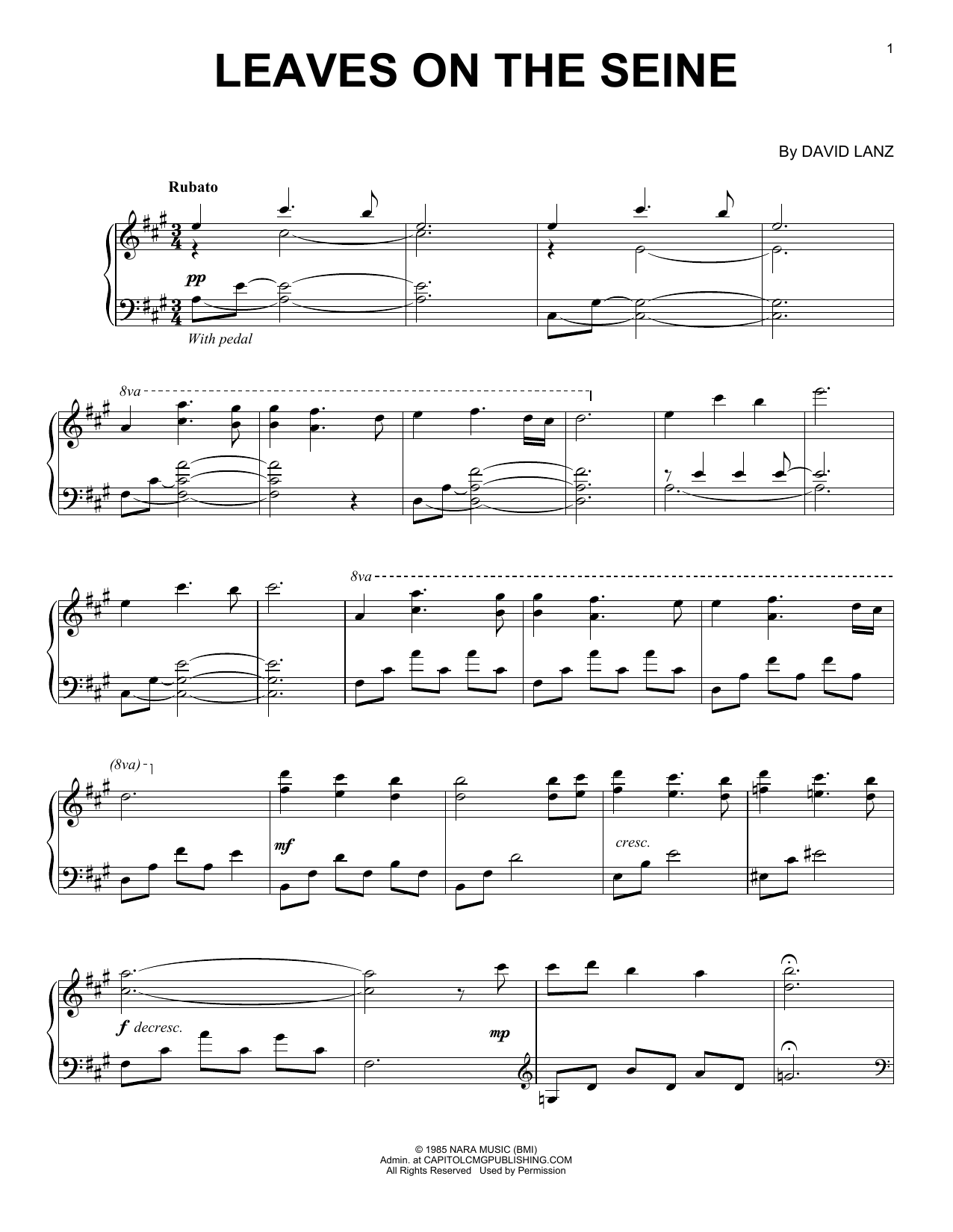 Download David Lanz 'Leaves On The Seine' Digital Sheet Music Notes & Chords and start playing in minutes