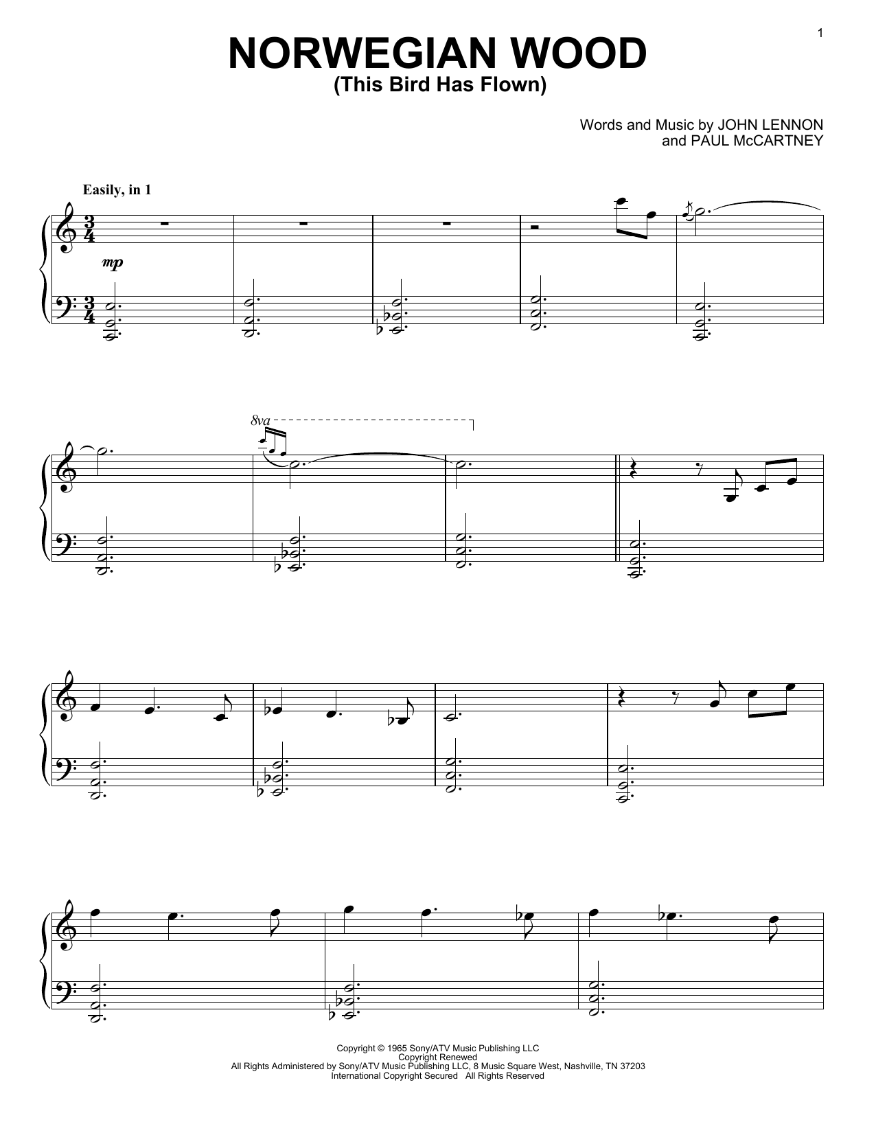 Download David Lanz 'Norwegian Wood (This Bird Has Flown)' Digital Sheet Music Notes & Chords and start playing in minutes