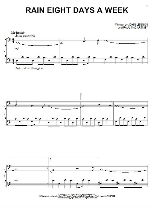 David Lanz Rain Eight Days A Week sheet music notes and chords
