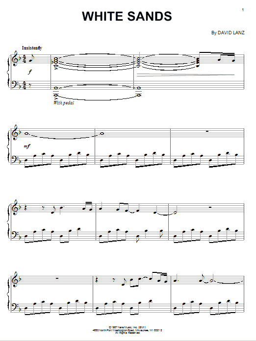 Download David Lanz 'White Sands' Digital Sheet Music Notes & Chords and start playing in minutes