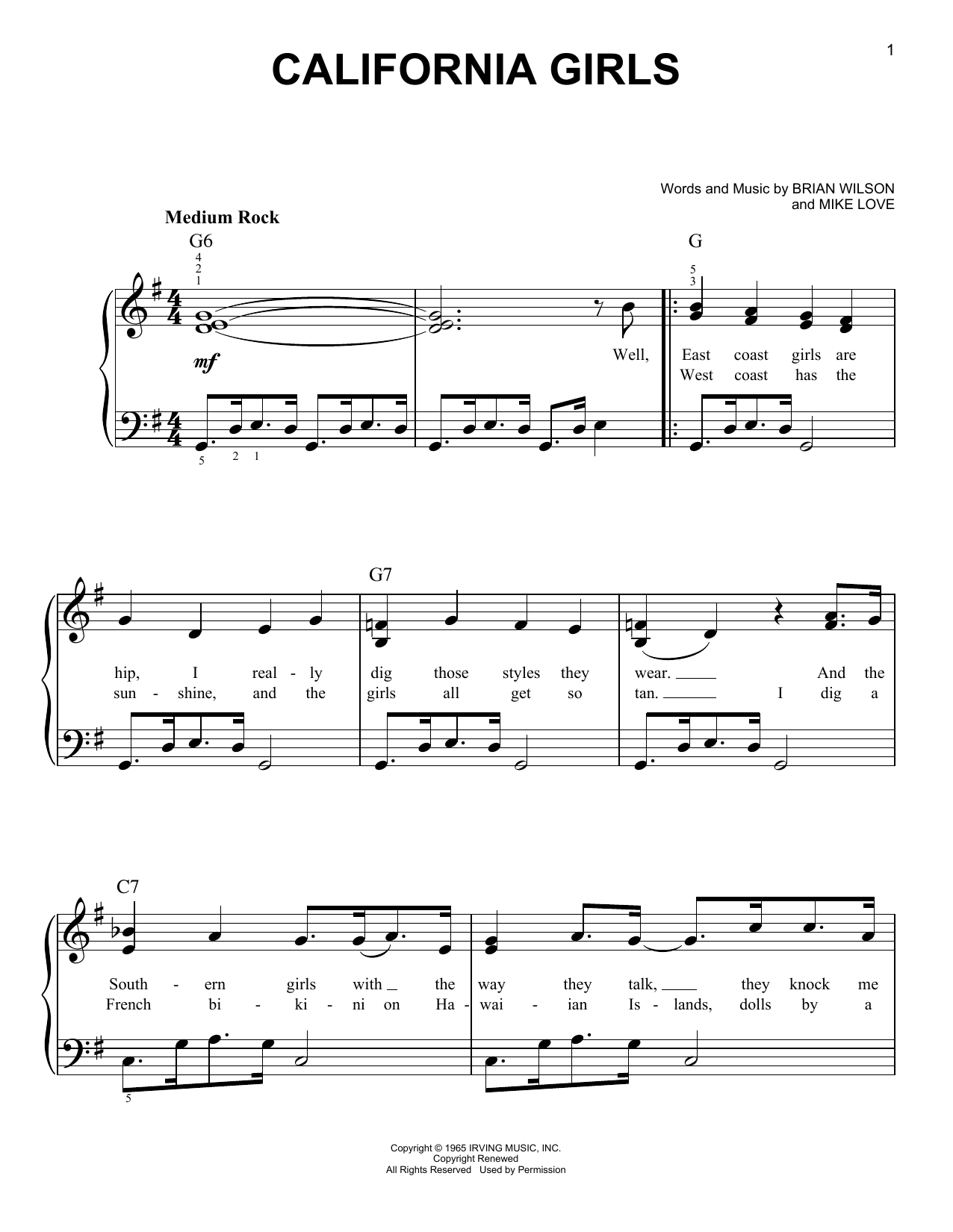 David Lee Roth California Girls sheet music notes and chords