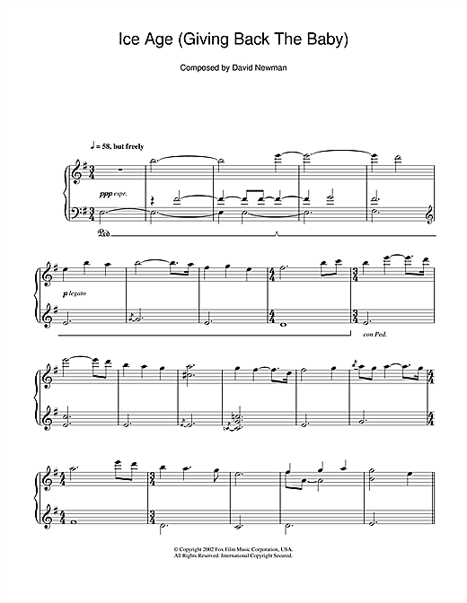 Download David Newman 'Ice Age (Giving Back The Baby)' Digital Sheet Music Notes & Chords and start playing in minutes