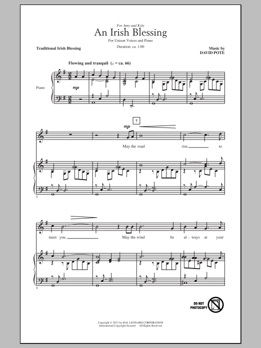 Download David Pote 'An Irish Blessing' Digital Sheet Music Notes & Chords and start playing in minutes