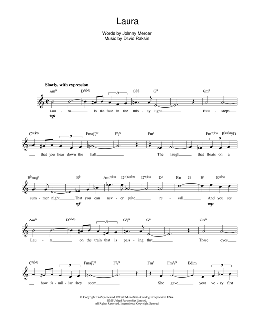 David Raksin Laura sheet music preview music notes and score for Piano including 2 page(s)
