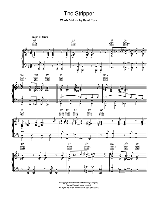 David Rose The Stripper sheet music preview music notes and score for Drums Transcription including 1 page(s)