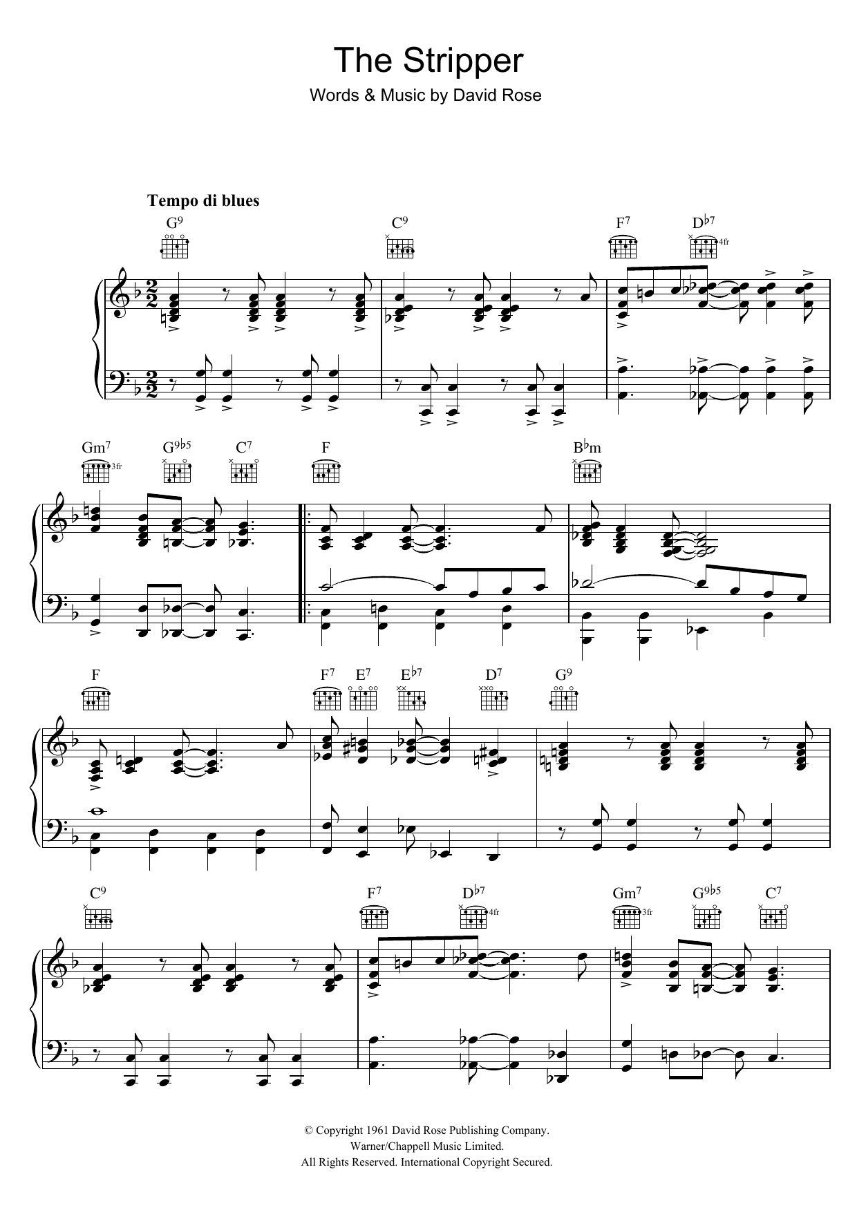 David Rose The Stripper sheet music preview music notes and score for Piano including 3 page(s)