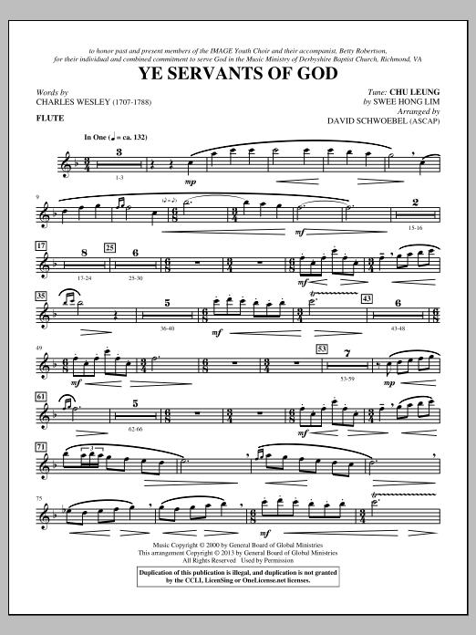 David Schwoebel Ye Servants of God - Flute sheet music notes and chords