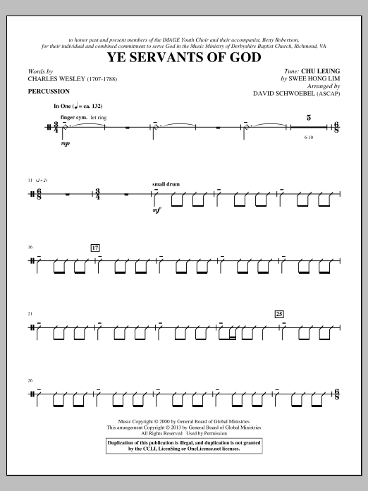 David Schwoebel Ye Servants of God - Percussion sheet music notes and chords