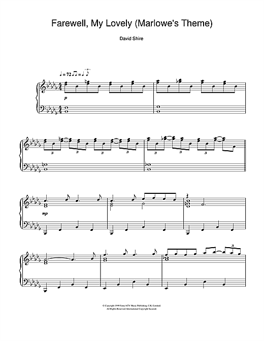 Download David Shire 'Farewell, My Lovely (Marlowe's Theme)' Digital Sheet Music Notes & Chords and start playing in minutes