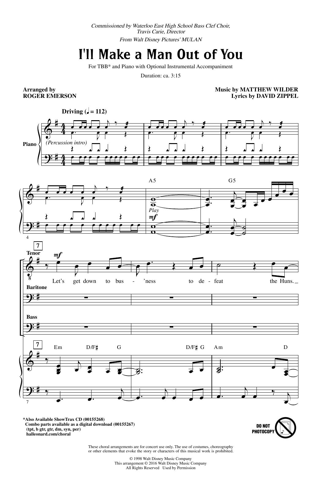 Download Roger Emerson 'I'll Make A Man Out Of You' Digital Sheet Music Notes & Chords and start playing in minutes