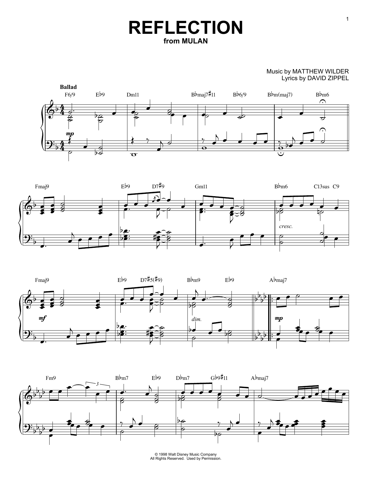 Download Christina Aguilera 'Reflection' Digital Sheet Music Notes & Chords and start playing in minutes