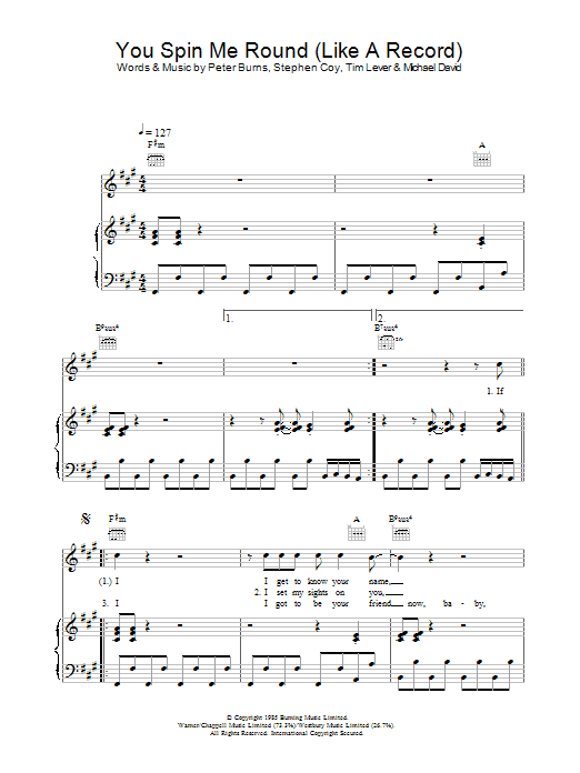 Dead Or Alive You Spin Me Round (Like A Record) sheet music preview music notes and score for Piano, Vocal & Guitar (Right-Hand Melody) including 4 page(s)