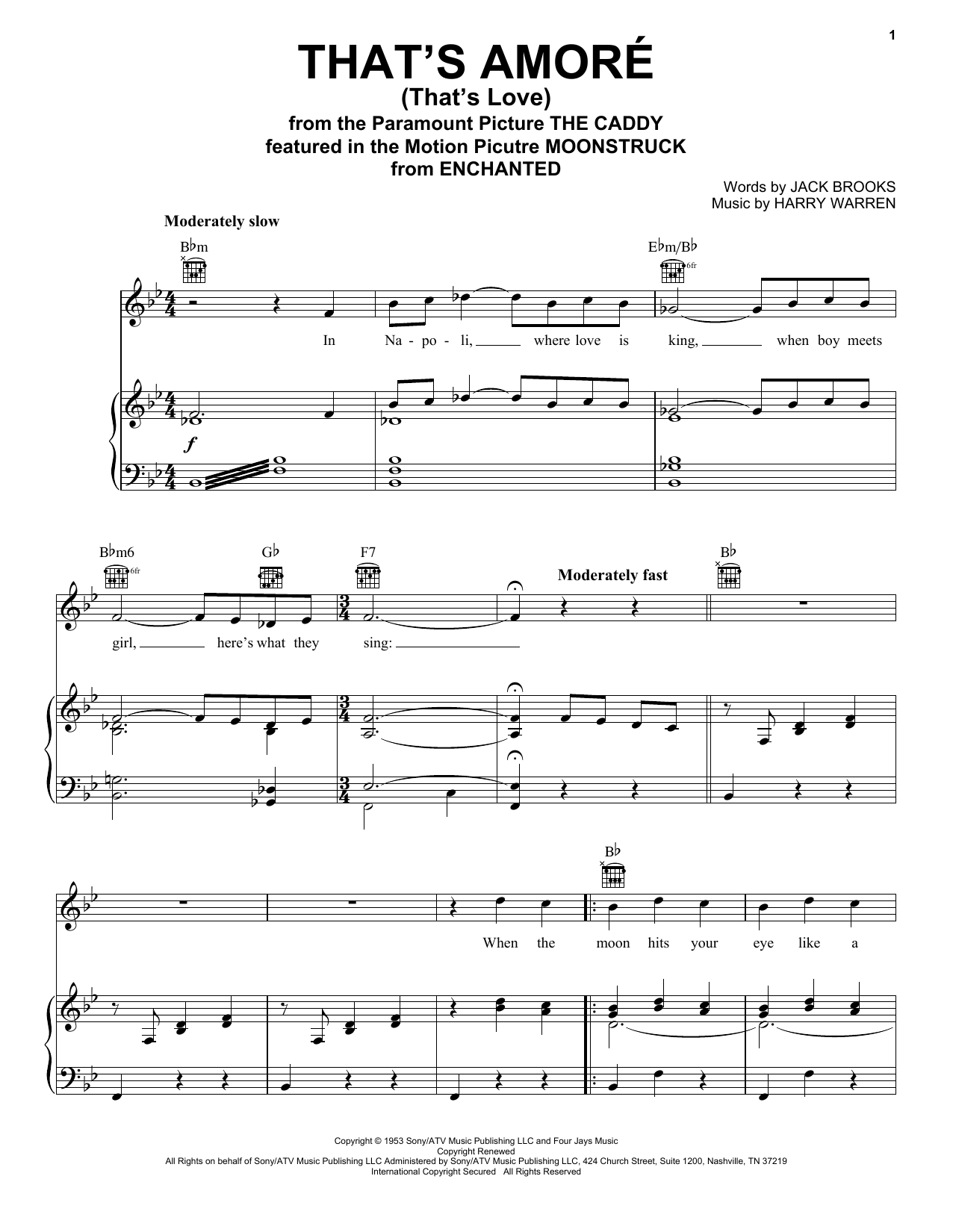 Dean Martin That's Amore (That's Love) sheet music preview music notes and score for Piano, Vocal & Guitar (Right-Hand Melody) including 5 page(s)