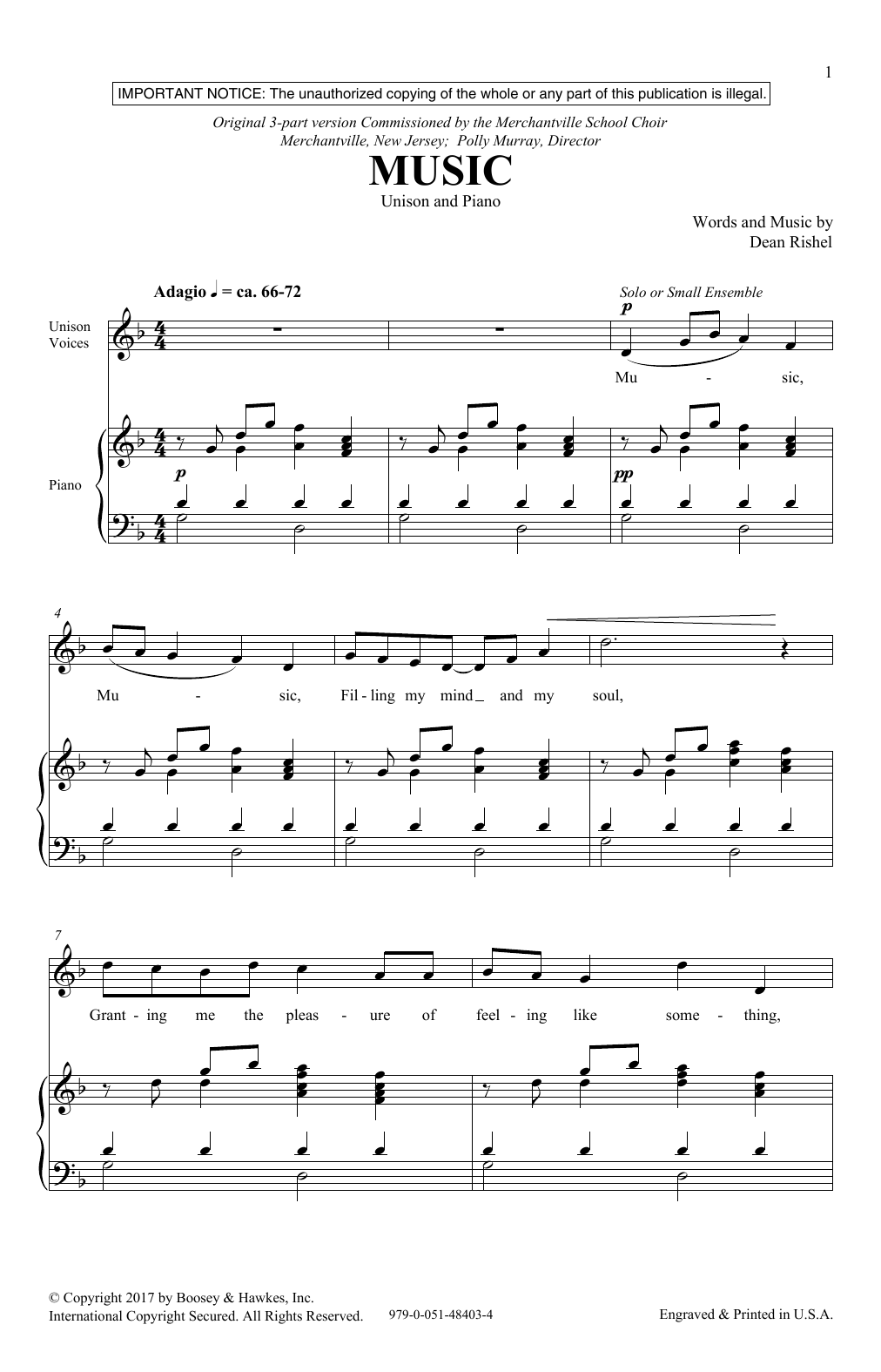 Download Dean Rishel 'Music' Digital Sheet Music Notes & Chords and start playing in minutes