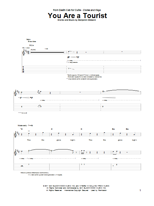 Death Cab For Cutie You Are A Tourist sheet music preview music notes and score for Guitar Tab including 11 page(s)