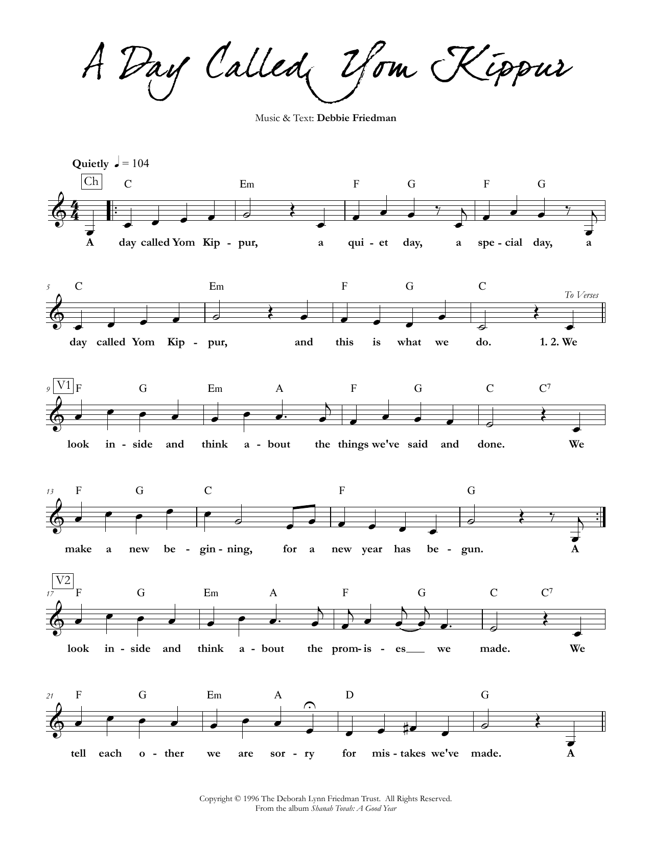 Debbie Friedman A Day Called Yom Kippur sheet music preview music notes and score for Lead Sheet / Fake Book including 2 page(s)
