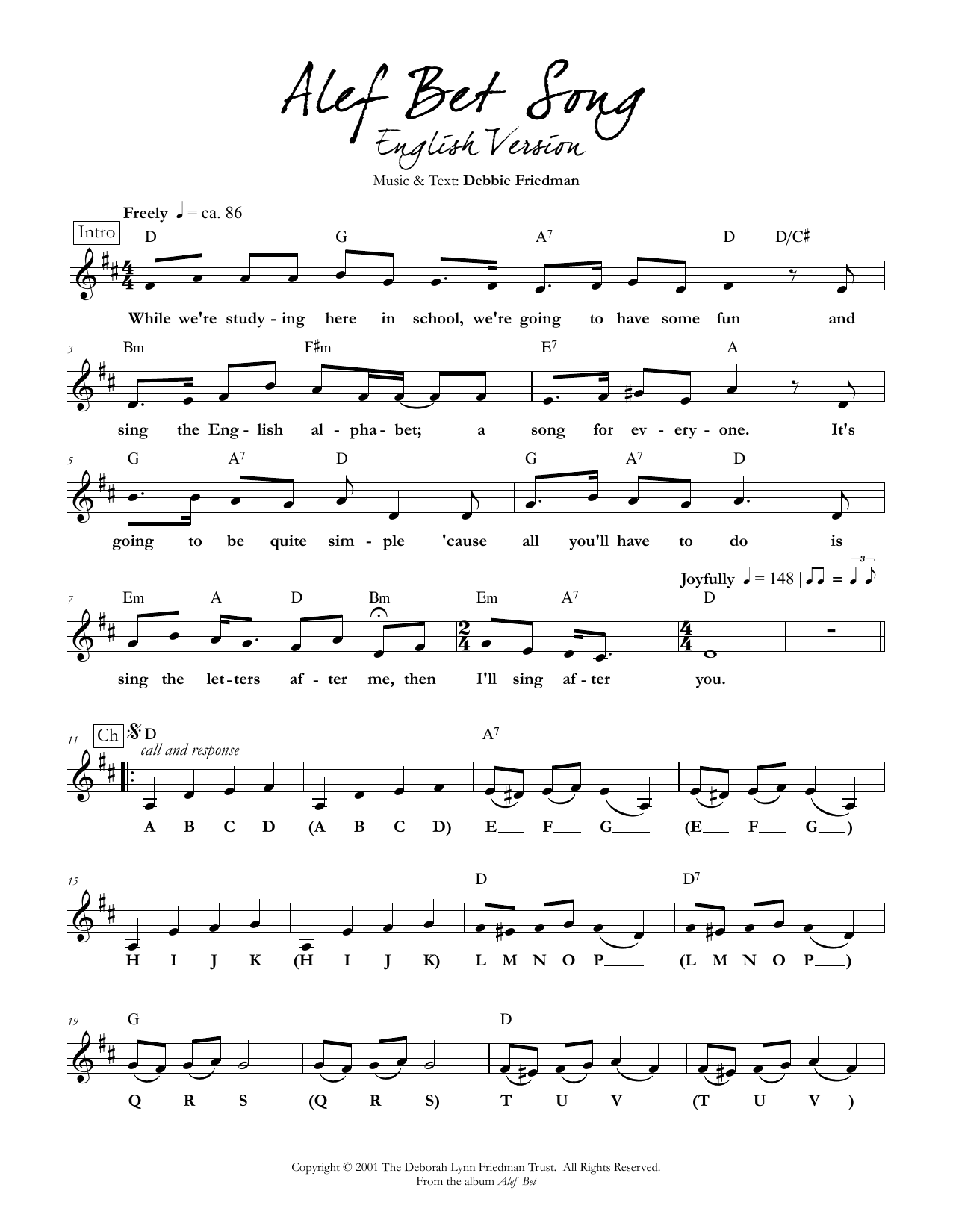 Debbie Friedman Alef Bet Song (English Version) sheet music preview music notes and score for Lead Sheet / Fake Book including 3 page(s)