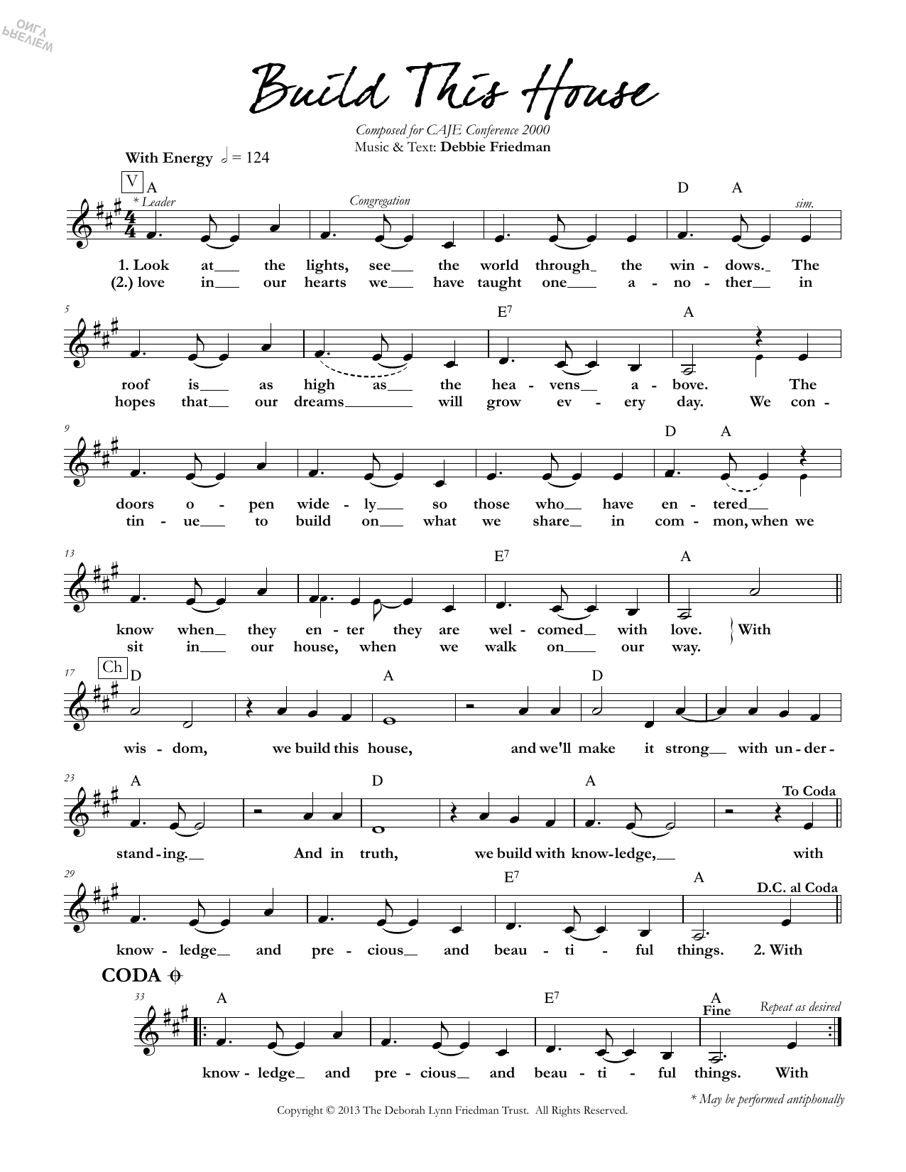 Debbie Friedman Build This House sheet music preview music notes and score for Lead Sheet / Fake Book including 1 page(s)