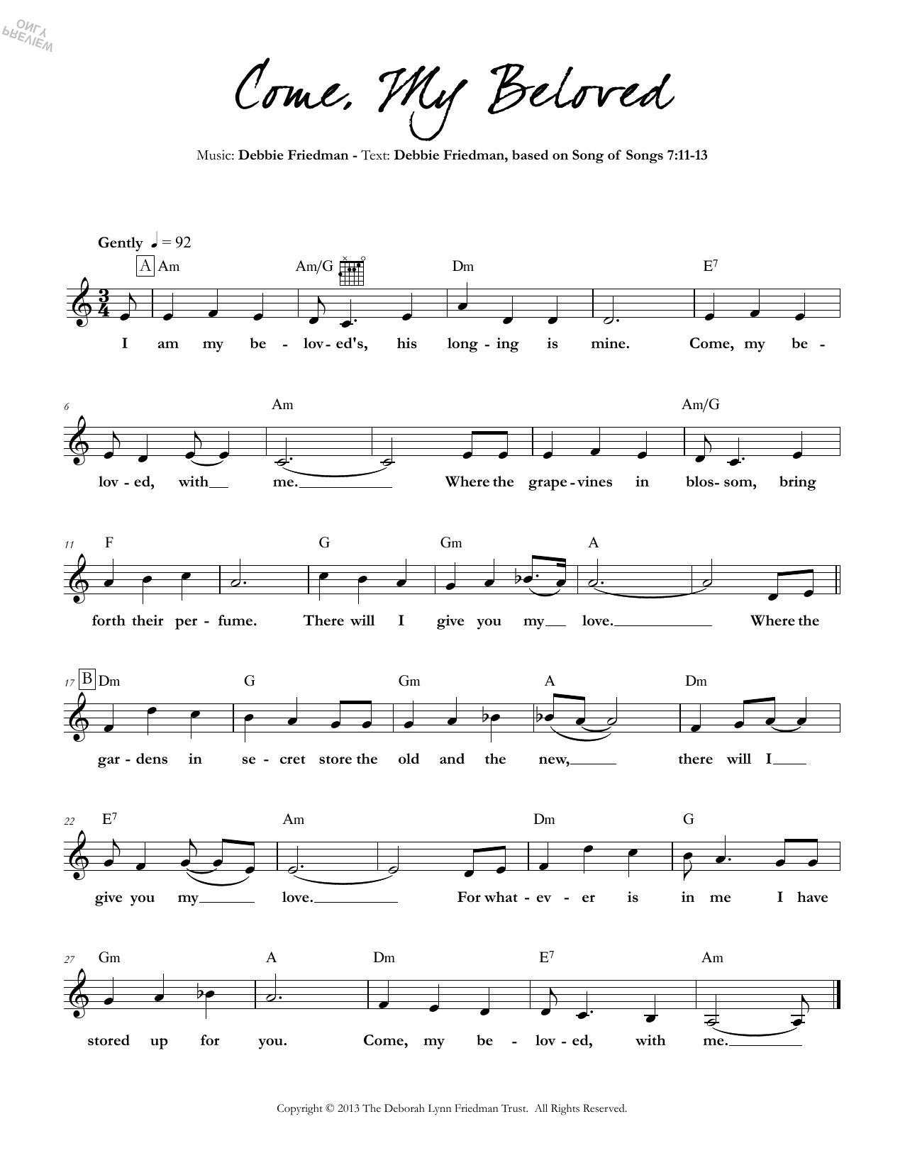 Debbie Friedman Come, My Beloved sheet music preview music notes and score for Lead Sheet / Fake Book including 1 page(s)