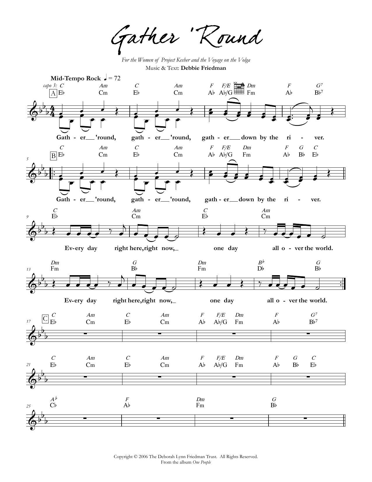 Debbie Friedman Gather 'Round sheet music preview music notes and score for Lead Sheet / Fake Book including 2 page(s)