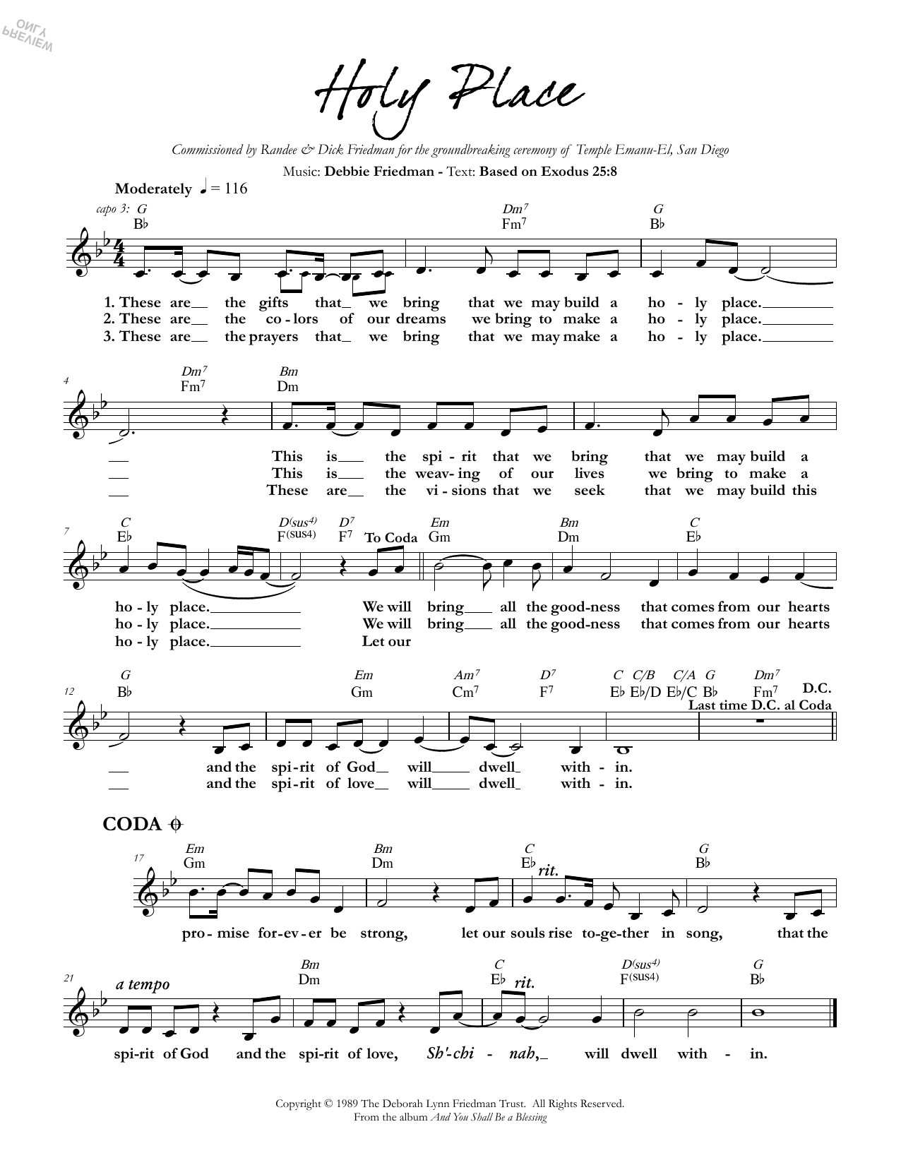 Debbie Friedman Holy Place sheet music preview music notes and score for Lead Sheet / Fake Book including 1 page(s)