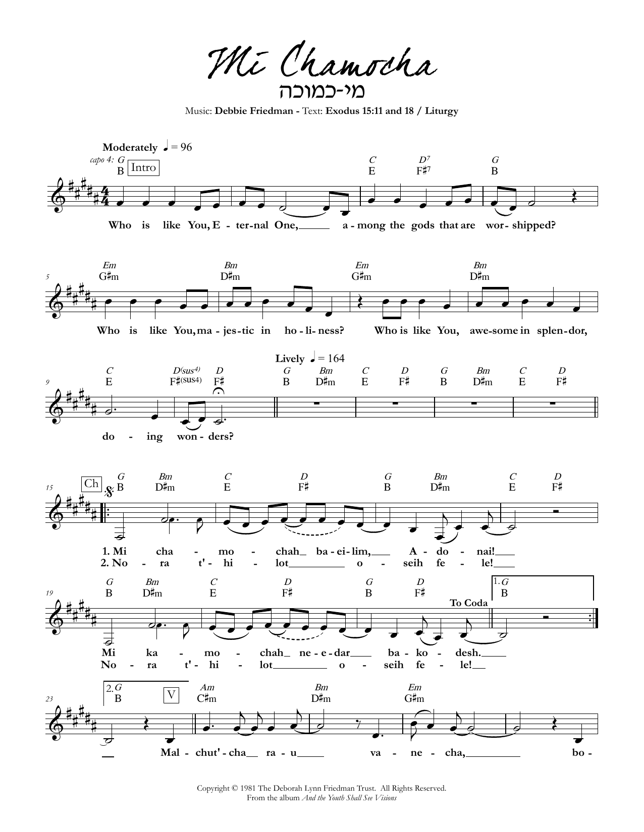 Debbie Friedman Mi Chamocha sheet music preview music notes and score for Lead Sheet / Fake Book including 2 page(s)