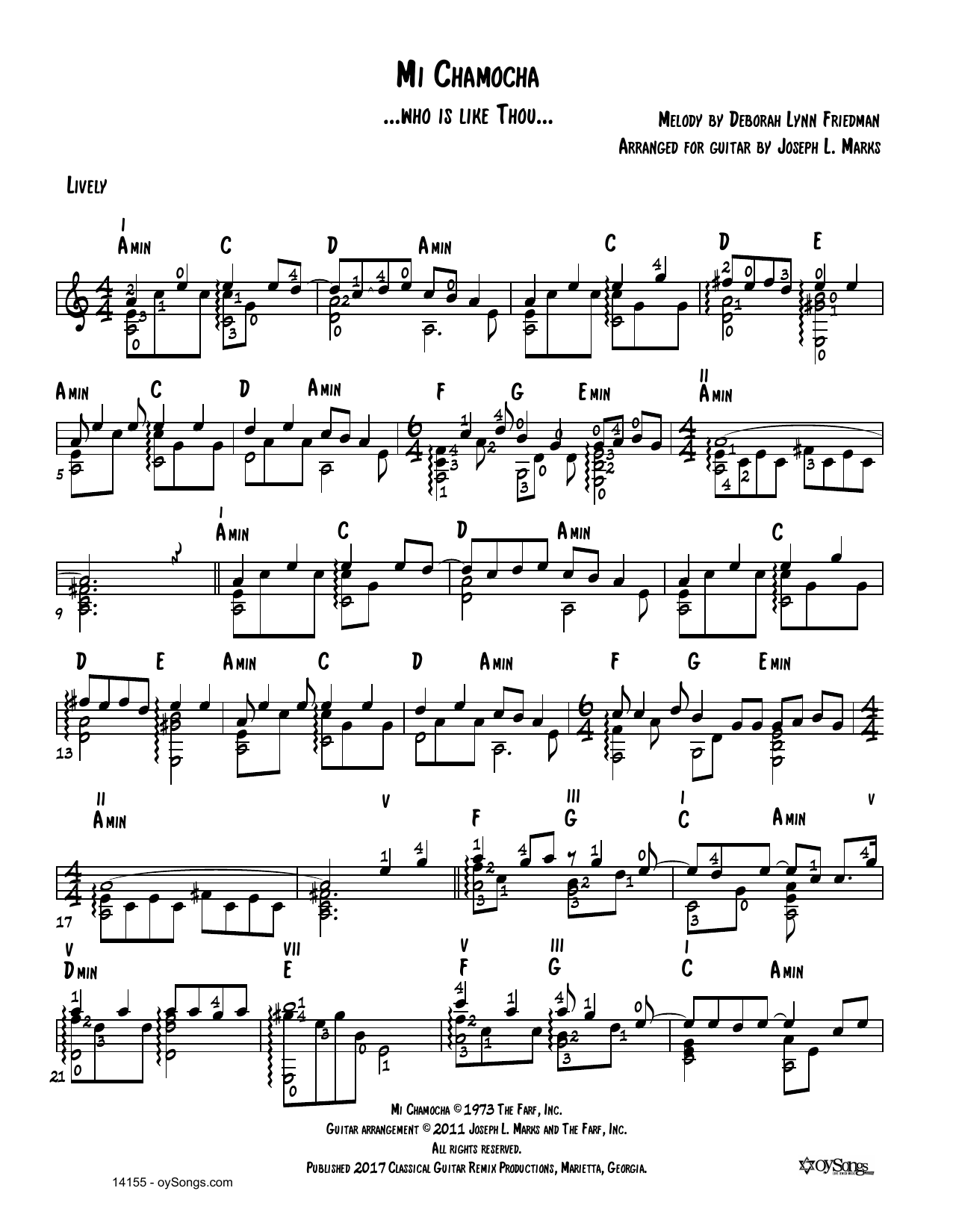 Debbie Friedman Mi Chamocha (arr. Joe Marks) sheet music preview music notes and score for Solo Guitar Tab including 2 page(s)