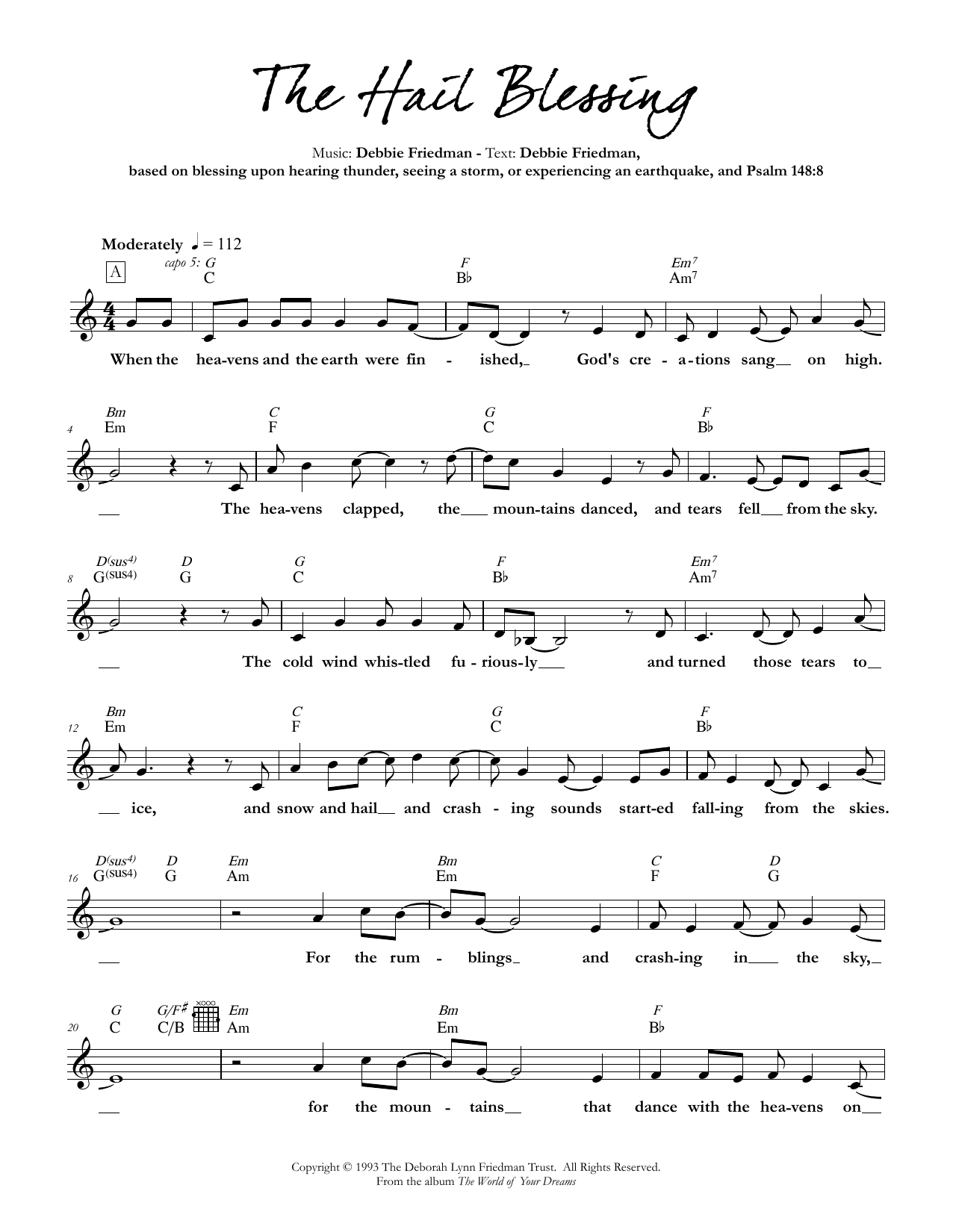 Debbie Friedman The Hail Blessing sheet music preview music notes and score for Lead Sheet / Fake Book including 4 page(s)