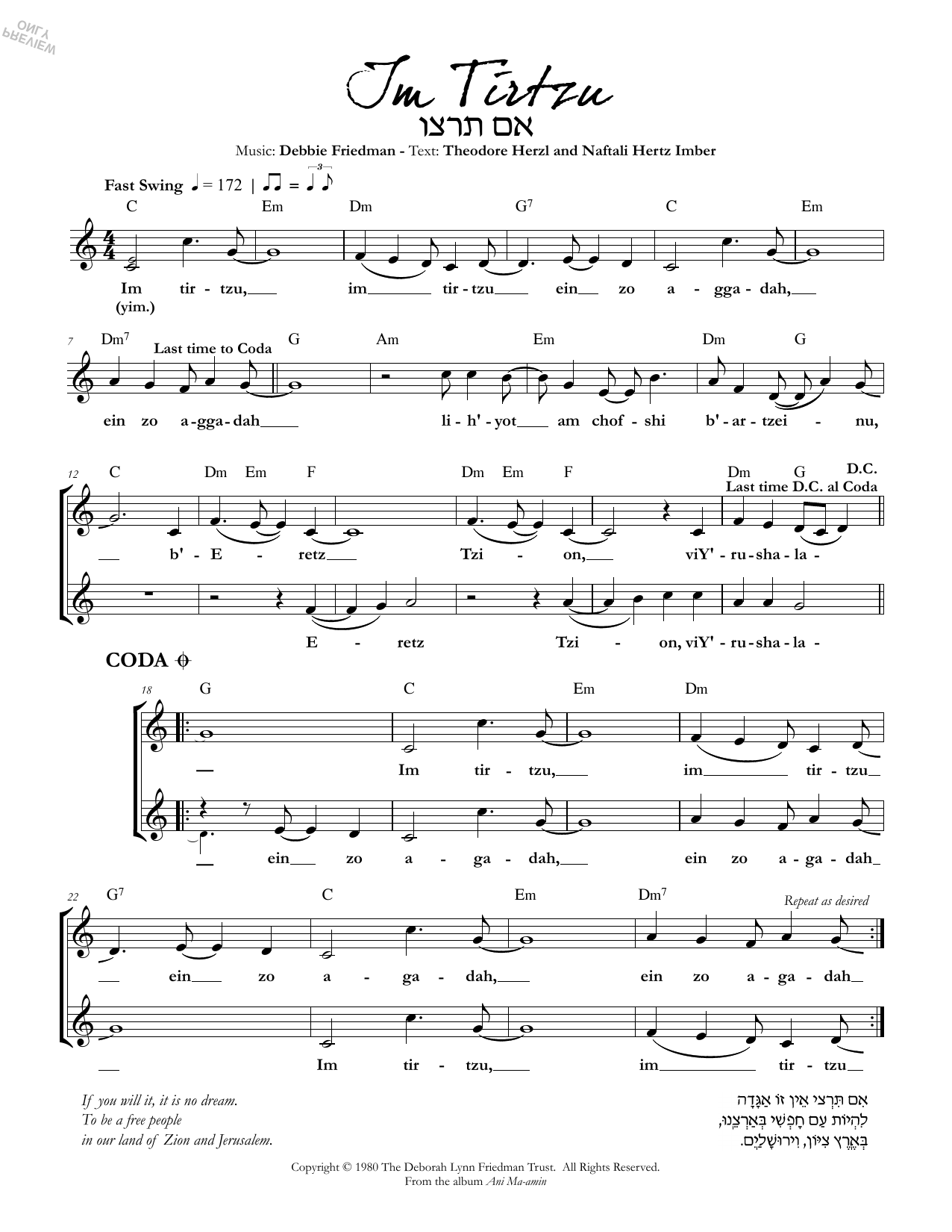 Debbie Friedman & Naphtali Herz Im Tirzu sheet music preview music notes and score for Lead Sheet / Fake Book including 1 page(s)