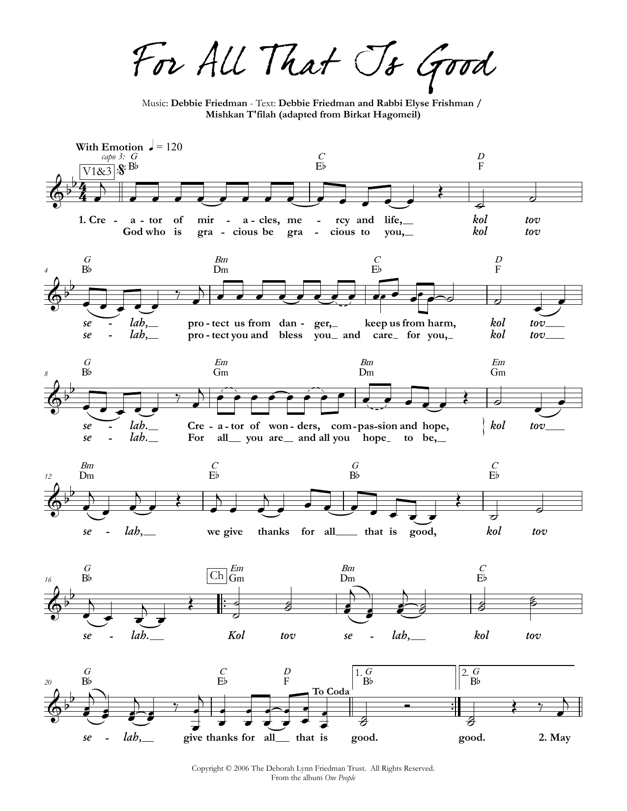 Debbie Friedman & Rabbi Elyse Frishman For All That Is Good sheet music preview music notes and score for Lead Sheet / Fake Book including 3 page(s)