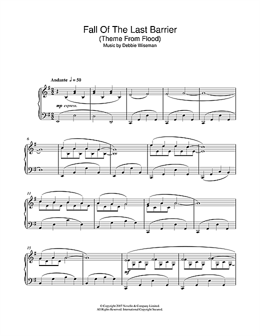 Download Debbie Wiseman 'Fall Of The Last Barrier (Theme From Flood)' Digital Sheet Music Notes & Chords and start playing in minutes