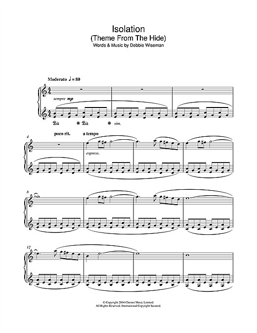 Download Debbie Wiseman 'Isolation (Theme From The Hide)' Digital Sheet Music Notes & Chords and start playing in minutes