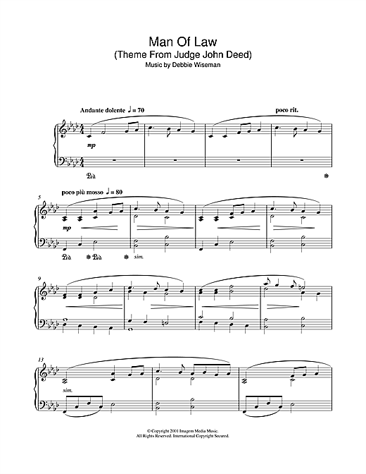 Download Debbie Wiseman 'Man Of Law (Theme From Judge John Deed)' Digital Sheet Music Notes & Chords and start playing in minutes