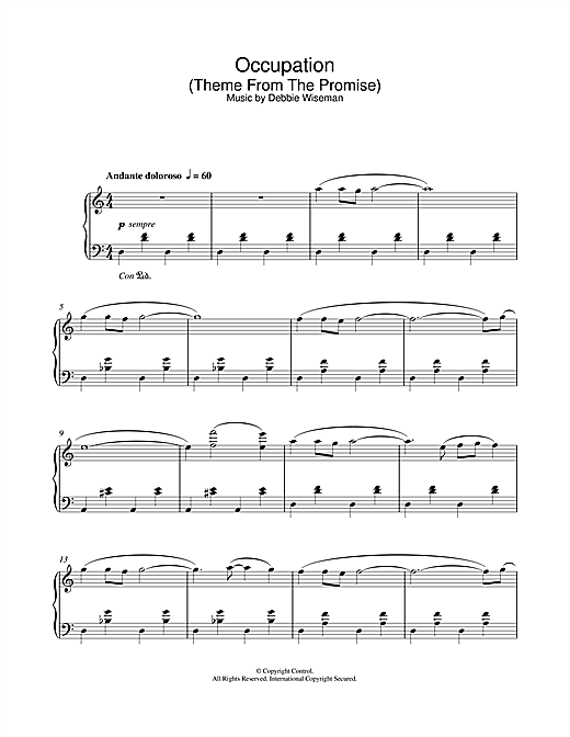 Download Debbie Wiseman 'Occupation (Theme From The Promise)' Digital Sheet Music Notes & Chords and start playing in minutes