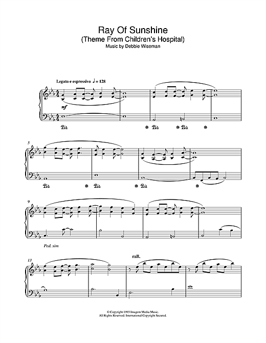 Download Debbie Wiseman 'Ray Of Sunshine (Theme From Children's Hospital)' Digital Sheet Music Notes & Chords and start playing in minutes