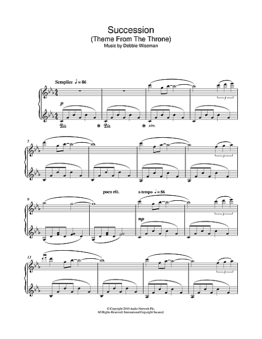 Download Debbie Wiseman 'Succession (Theme From The Throne)' Digital Sheet Music Notes & Chords and start playing in minutes