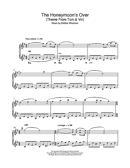 Download Debbie Wiseman 'The Honeymoon's Over (Theme From Tom & Viv)' Digital Sheet Music Notes & Chords and start playing in minutes
