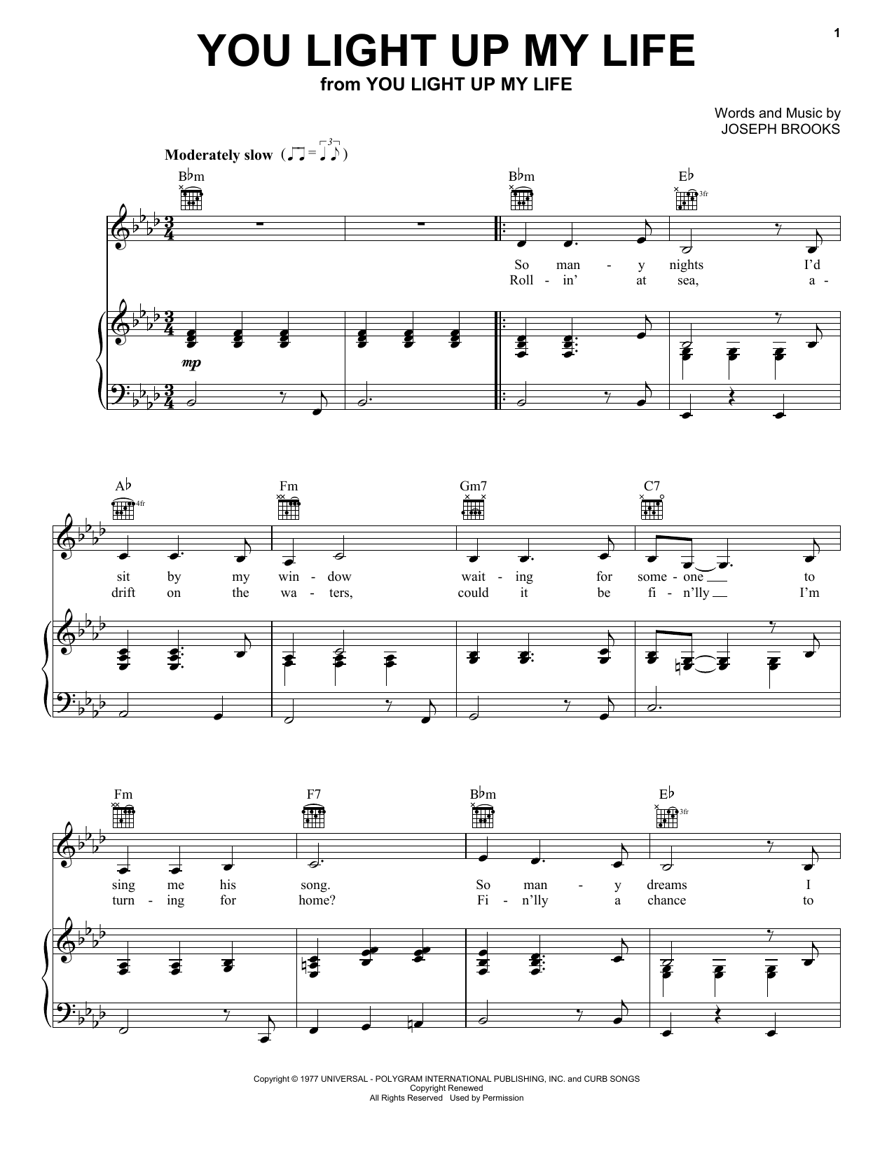 Debby Boone You Light Up My Life sheet music preview music notes and score for Piano, Vocal & Guitar (Right-Hand Melody) including 4 page(s)