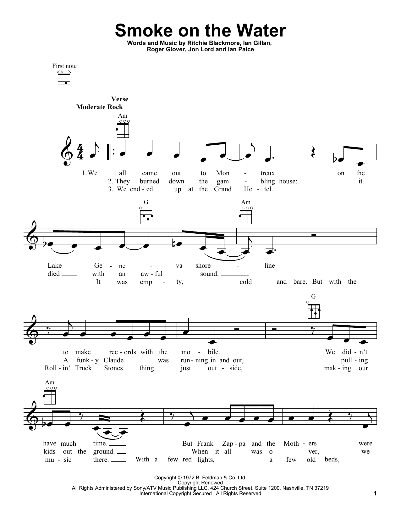 Deep Purple Smoke On The Water sheet music preview music notes and score for Lyrics & Chords including 3 page(s)