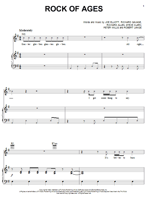 Download Def Leppard 'Rock Of Ages' Digital Sheet Music Notes & Chords and start playing in minutes